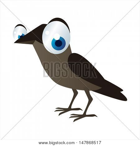 vector funny animal cute character illustration. Jackdaw