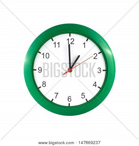 One o'clock on big wall clock in green case isolated on white background closeup