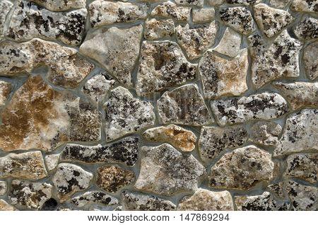 Background made of  stone wall, Giginski monastery, Breznik, Pernik region, Bulgaria