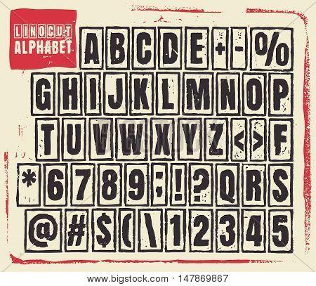 Engraved alphabet set illustration. Vector illustration of linocut alphabet.