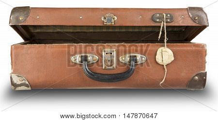open old suitcase isolated on white background with a open of wax. Old suitcase used to travel with the secret contents.