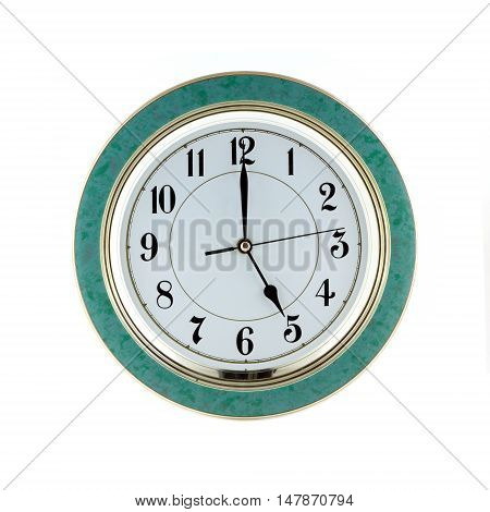 Round office wall clock shows five o'clock isolated on white closeup
