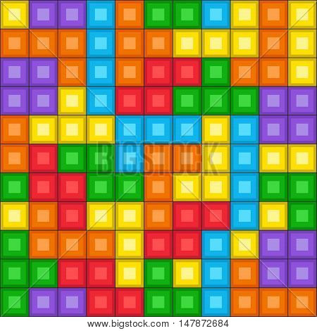 Tetris game seamless pattern. Pixelated colorful design.