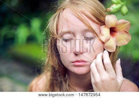 Woman In Tropical Jungles Of Bali