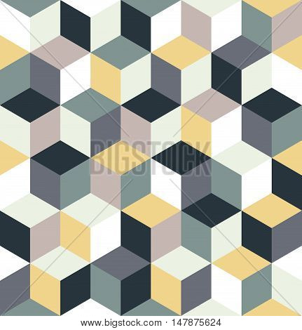 Seamless pattern of colorful cubes. Gray, yellow, multicolored cubic background. Cubical abstract pattern. Cube decoration. Cubic vintage background. Geometric pattern texture. Vector illustration.