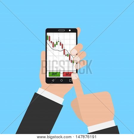Hand holding smartphone with forex stock chart. Stock trade application on smartphone . Digital device with forex diagram. Vector illustration.