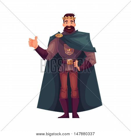 king wearing crown and mantle, cartoon vector illustration isolated in white background. king - tall and slim young white skinned, kind and happy