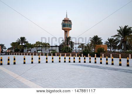 HIDD, BAHRAIN - SEPTEMBER 10, 2016: Evening shot of the beautiful coffee house tower in Prince Khalifa Bin Salman Park