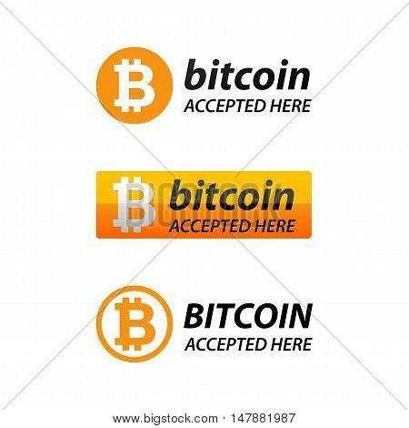 Bitcoin Accepted Here Web Icon on white background