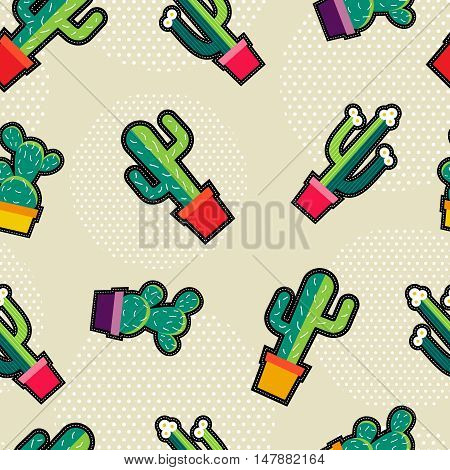 Cute Stitching Cactus Plant Icons Seamless Pattern