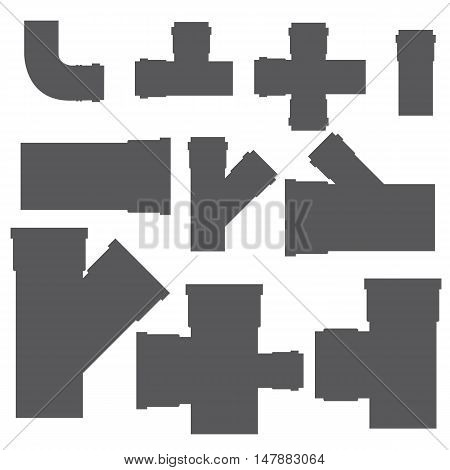 Plumbing. Sewer pipes. Fitting. Elements of the sewer system. Vector illustration.