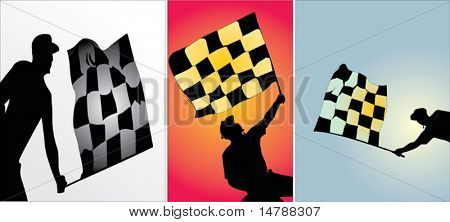 illustration with three referee and flag silhouettes