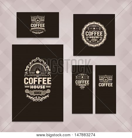 Set of five vector, vintage coffee badges for coffee advertising. Coffee sing badges for coffee shop, banners, menu, chalkboard