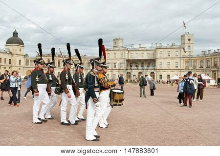 GATCHINA, ST. PETERSBURG, RUSSIA - SEPTEMBER 10, 2016: Guards with military drummer on the platz in front of Gatchina palace during festival Gatchinskaya Byl. The festival is held first time this year