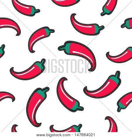 Red Chili Pepper Stitch Patch Seamless Pattern