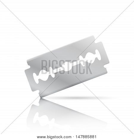 Realistic razor blade front view with shadow and reflection 3d vector illustration isolated on white background eps 10