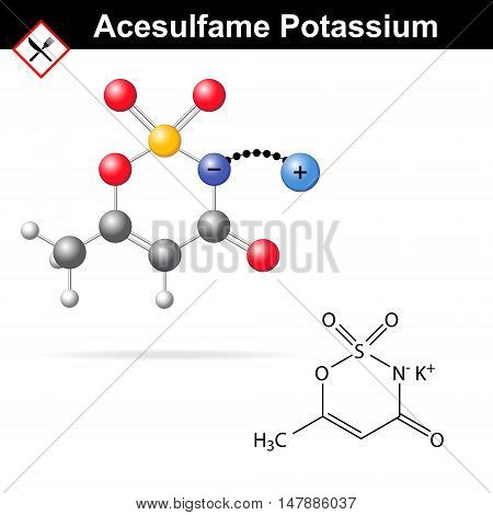 Acesulfame potassium - artificial sweetener chemical model and molecular structure E950 food additive 2d and 3d vector illustration isolated on white background eps 8