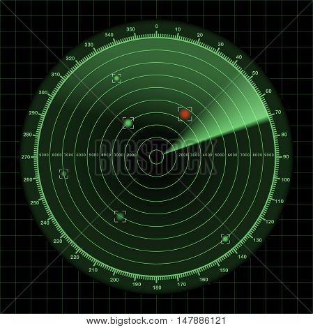 Radar or sonar screen detection monitor background with grid 2d vector illustration on dark background eps 10