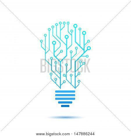 Lamp formed by chip connectors idea generation icon 2d vector icon illustration isolated on white background eps 10