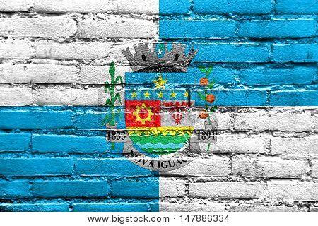 Flag Of Nova Iguacu, Brazil, Painted On Brick Wall