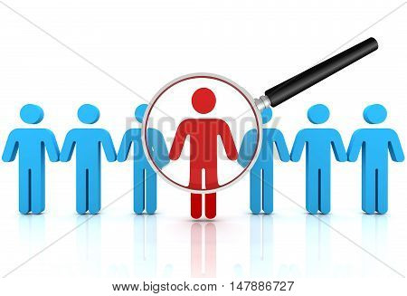 searching person 3d illustration isolated on white background