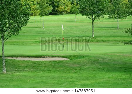 Putting green and a flag stick on a golf course.