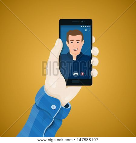 Online video conferencing. Hand with phone vector illustration in flat style. Man's hand holding a phone concept. Video call on the screen of black smartphone. Mobile app vector clipart