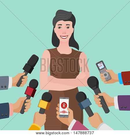smiling young woman and many hands with different sound recording tools