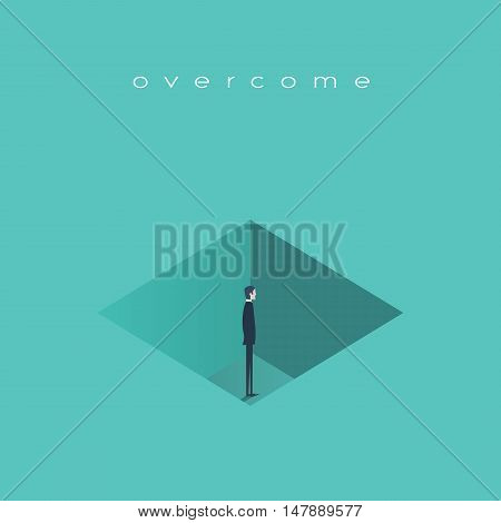 Business challenge, obstacle, issues concept vector background. Businessman standing in a hole to find creative solution to a problem. Eps10 vector illustration.
