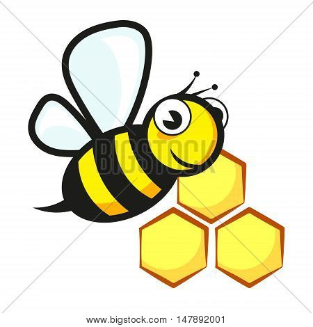 Funny bee and honeycombs silhouette, vector illustration