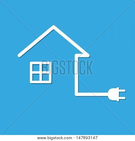 Silhouette of house with wire plug - vector illustration. Simple icon with house and wire plug on blue background.