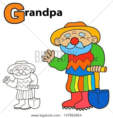 Cartoon Grandpa. Coloring book page. Colours game vector illustration