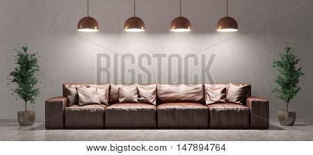 Interior Of Living Room With Sofa Over Concrete Wall 3D Rendering