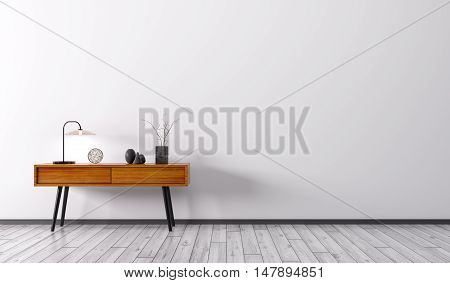 Interior With Wooden Side Table 3D Render