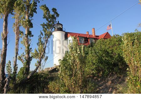 Point Betsie Light on the shore of Lake Michigan, Michigan