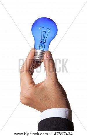 Closeup of Businessperson Holding a Blue Light Bulb