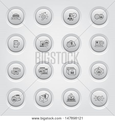 Security and Protection Icons Set. Grey Button Design. Isolated Illustration. App Symbol or UI element. Personal Access, Assistence Symbol, Global Safety and Security Symbol, Payment Security Symbol.