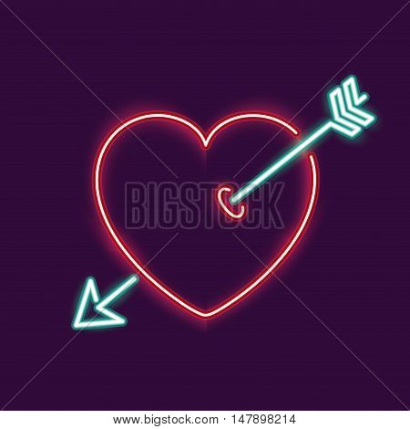 neon heart and arrow icon. decoration and advertising theme. Colorful design. Vector illustration