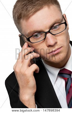 Portrait of a Businessman Talking on Smartphone