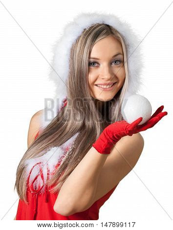 Santa Claus Woman Holding a Snowball - Isolated