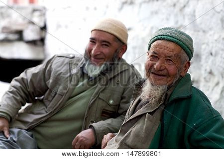 TURTUK, INDIA - JUNE 13: Balti men poses for a photo in Turtuk Village, Ladakh, India