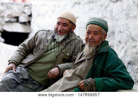 TURTUK, INDIA - JUNE 13: Balti men poses for a photo on June 13, 2012 in Turtuk Village, Ladakh, India