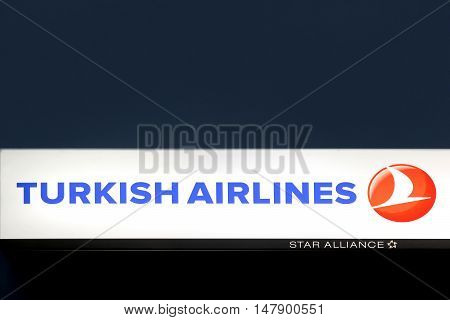 Billund, Denmark - September 16, 2016: Turkish Airlines is the national flag carrier airline of Turkey, headquartered at the Turkish Airlines General Management Building on the grounds of Ataturk Airport in Istanbul