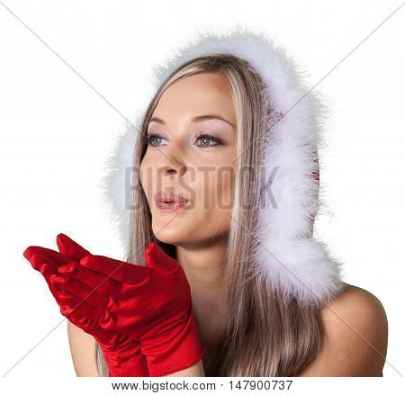 Santa Girl Blowing a Kiss - Isolated