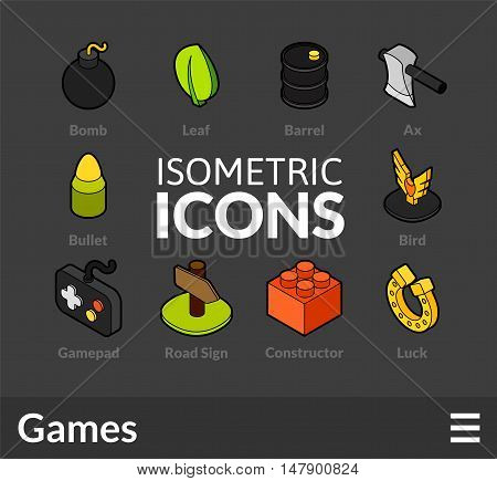 Isometric outline icons, 3D pictograms vector set 14 - Games symbol collection