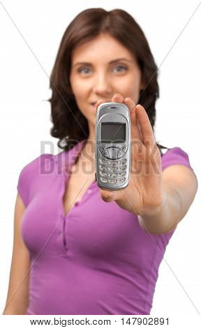 Woman Giving a Mobile Phone - Isolated