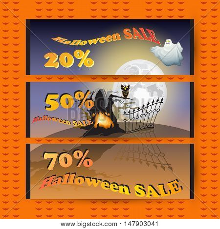 Sale coupons. Discount sticker with Moon, ghost, owl, tree and words Halloween Sale. Price tag template.