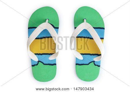 Kids summer colorful striped print flip flops isolated on white background. Top view
