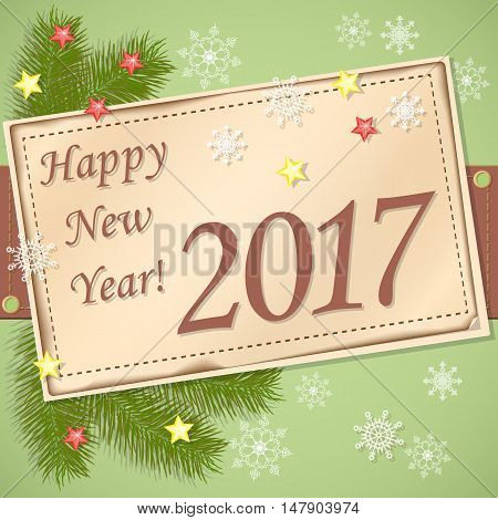 Vector design of new year`s image with scrapbooking card and text Happy New Year 2017. EPS 10.