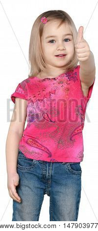 Little Girl with Medium Blond Hair Standing and Shows Thumb Up - Isolated